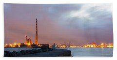 Dublin Port At Night Bath Towel by Semmick Photo