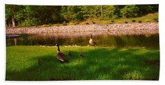 Hand Towel featuring the photograph Duck Family Getting Back From Pond by Amazing Photographs AKA Christian Wilson