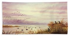 Duck Hunting Companions Hand Towel by Bill Holkham