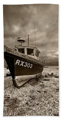 Dungeness Boat Under Stormy Skies Hand Towel