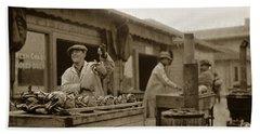 Dungeness Crabs At Fisherman's Wharf At San Francisco California. Circa 1935 Hand Towel