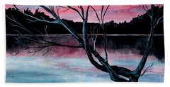 Dusk Lake Arrowhead Maine  Hand Towel