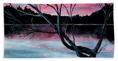 Dusk Lake Arrowhead Maine  Hand Towel
