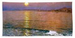 Bath Towel featuring the painting Dusk Over Coast Of Malaga by Pg Reproductions