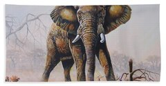 Hand Towel featuring the painting Dusty Jumbo by Anthony Mwangi