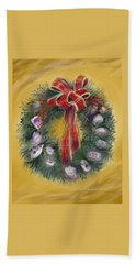 Hand Towel featuring the painting Duxbury Oyster Wreath by Jean Pacheco Ravinski