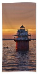 Duxbury Pier Light At Sunset Hand Towel