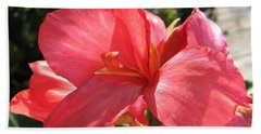 Dwarf Canna Lily Named Shining Pink Bath Towel by J McCombie