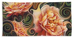 Dynamic Floral V  Roses Bath Towel