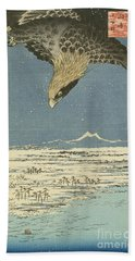 Eagle Over One Hundred Thousand Acre Plain At Susaki Hand Towel by Hiroshige