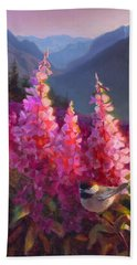 Eagle River Summer Chickadee And Fireweed Alaskan Landscape Hand Towel
