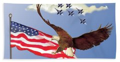 Eagle Soaring With Blue Angels Hand Towel by Anne Beverley-Stamps