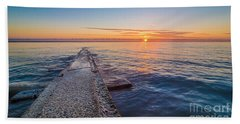 Early Breakwater Sunrise Hand Towel