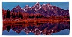 Bath Towel featuring the photograph Early Morning At The Tetons by Benjamin Yeager