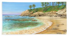 Bath Towel featuring the painting Early Morning Laguna by Jane Girardot