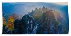 Early Morning Mist At The Bastei In The Saxon Switzerland Bath Towel
