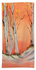 Hand Towel featuring the painting Early Winter Aspen by Janice Rae Pariza