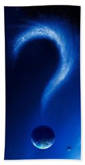 Earth And Question Mark From Stars Hand Towel