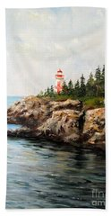 Hand Towel featuring the painting East Quoddy Head Light by Lee Piper
