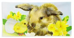 Easter Bunny With Primrose And Chick Bath Towel