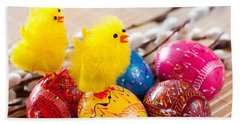 Easter Eggss And Yellow Fluffy Chickens  Bath Towel
