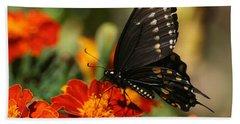 Eastern Swallowtail On Marigold Bath Towel