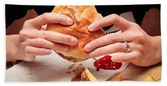 Eating Burger Hand Towel