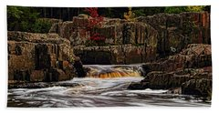 Waterfall Under Colored Leaves Hand Towel