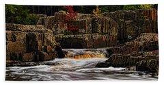 Waterfall Under Colored Leaves Bath Towel