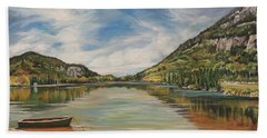 Hand Towel featuring the painting Echo Lake In Franconia Notch New Hampshire by Nancy Griswold