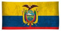 Ecuador Flag Vintage Distressed Finish Bath Towel