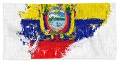 Ecuador Painted Flag Map Hand Towel by Antony McAulay