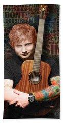 Ed Sheeran And Song Titles Bath Towel by Tony Rubino