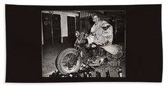 Eddie Davenport Of Tulare California On A Motorcycle Hollister  July 7 1947 Bath Towel