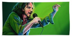 Eddie Vedder Of Pearl Jam Hand Towel by Paul Meijering