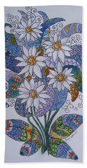 Hand Towel featuring the drawing Edelweiss by Megan Walsh