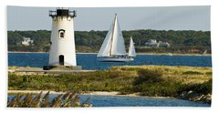 Edgartown Light At Martha's Vineyard Hand Towel