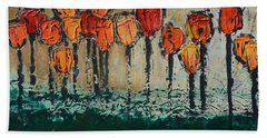 Bath Towel featuring the painting Edgey Tulips by Linda Bailey