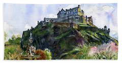 Edinburgh Castle Scotland Hand Towel by John D Benson