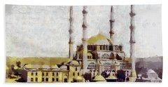 Bath Towel featuring the painting Edirne Turkey Old Town by Georgi Dimitrov