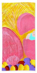 Hand Towel featuring the painting Eggs by Lorna Maza
