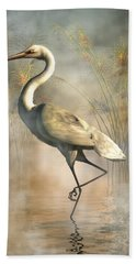 Egret Hand Towel by Daniel Eskridge