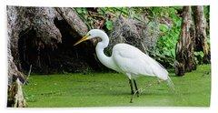 Egret Fishing Bath Towel