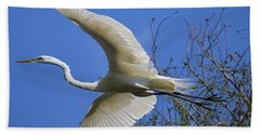 Egret Flying Bath Towel by Judith Morris