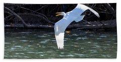 Egret In Flight Hand Towel