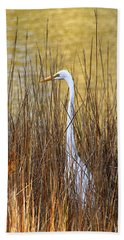 Egret In The Grass Hand Towel