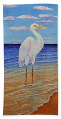 Eager Egret  Hand Towel