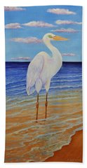 Eager Egret  Bath Towel