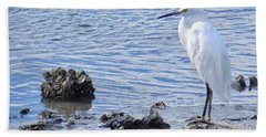 Egret Standing Perfectly Still Bath Towel