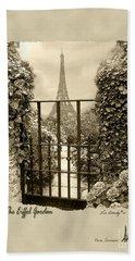 Eiffel Garden Sepia Bath Towel